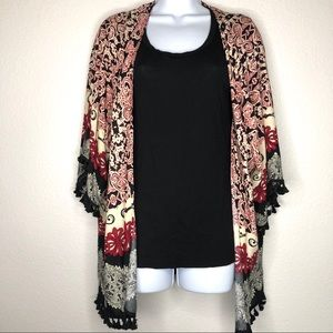 Umgee Tassel Trim Boho Kimono Small/Medium